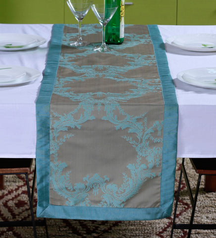"Lushomes Blue Pattern 1 Jacquard Table Runner with High Quality Polyester Border (Size: 16""x72""), single piece - Lushomes"