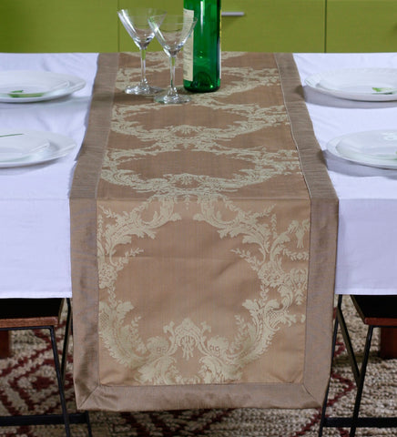 "Lushomes Natural Pattern 1 Jacquard Table Runner with High Quality Polyester Border (Size: 16""x72""), single piece - Lushomes"