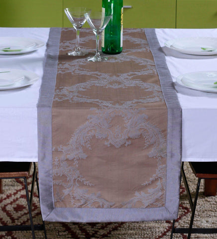 "Lushomes Warm Silver Pattern 1 Jacquard Table Runner with High Quality Polyester Border (Size: 16""x72""), single piece"
