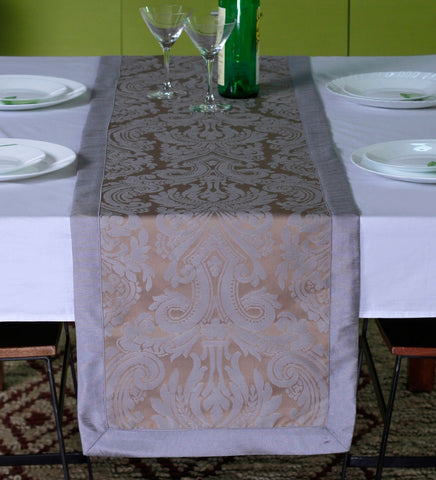 "Lushomes Silver Pattern 2 Jacquard Table Runner with High Quality Polyester Border (Size: 16""x72""), single piece - Lushomes"