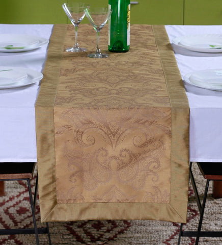 "Lushomes Gold Pattern 2 Jacquard Table Runner with High Quality Polyester Border (Size: 16""x72""), single piece - Lushomes"