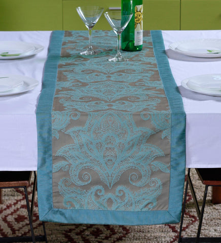 "Lushomes Blue Pattern 2 Jacquard Table Runner with High Quality Polyester Border (Size: 16""x72""), single piece - Lushomes"