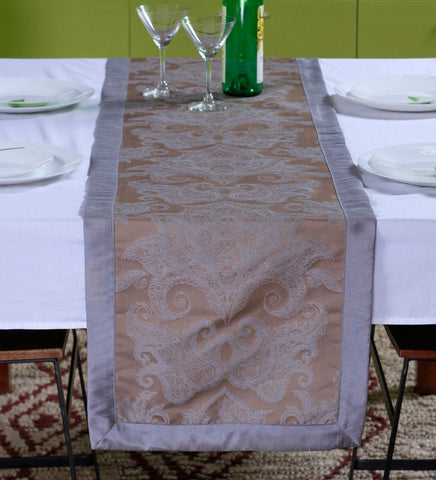 "Lushomes Warm Silver Pattern 2 Jacquard Table Runner with High Quality Polyester Border (Size: 16""x72""), single piece - Lushomes"