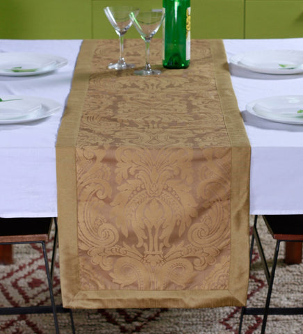 "Lushomes Gold Pattern 3 Jacquard Table Runner with High Quality Polyester Border (Size: 16""x72""), single piece - Lushomes"
