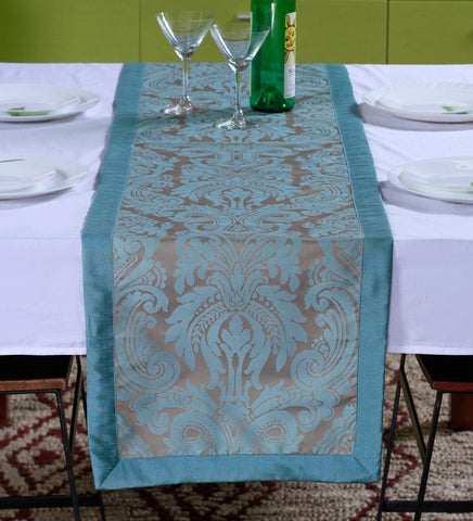 "Lushomes Blue Pattern 3 Jacquard Table Runner with High Quality Polyester Border (Size: 16""x72""), single piece - Lushomes"