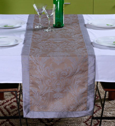 "Lushomes Natural Pattern 4 Jacquard Table Runner with High Quality Polyester Border (Size: 16""x72""), single piece - Lushomes"