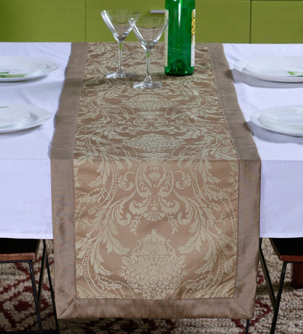 "Lushomes Warm Silver Pattern 4 Jacquard Table Runner with High Quality Polyester Border (Size: 16""x72""), single piece - Lushomes"
