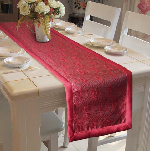 "Lushomes Red Jacquard Design 1 Table Runner with High Quality Polyester Border (Size: 16""x72""), single piece - Lushomes"
