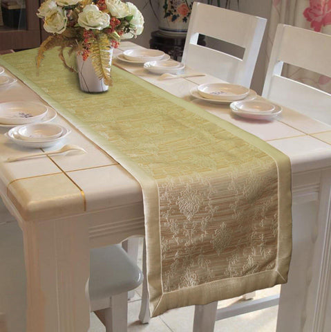 "Lushomes Gold Jacquard Design 2 Table Runner with High Quality Polyester Border (Size: 16""x72""), single piece - Lushomes"