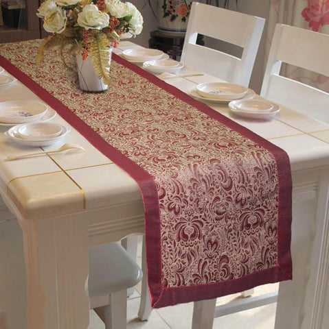 "Lushomes Pink Jacquard Design 5 Table Runner with High Quality Polyester Border (Size: 16""x72""), single piece - Lushomes"