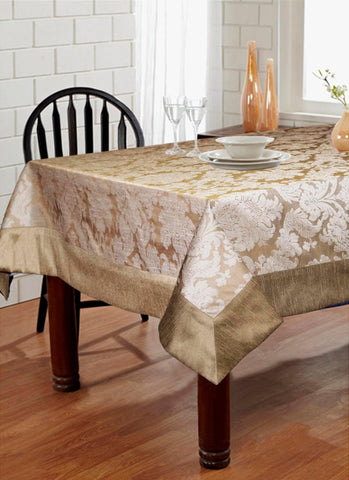 Lushomes Silver Jacquard Polyester 6 Seater Table cloth with High Quality Polyester Border - Lushomes