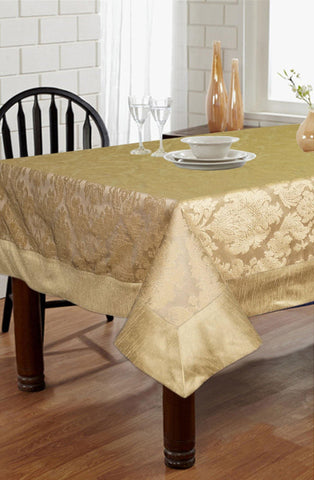 Lushomes Gold Jacquard 6 Seater Table cloth with High Quality Polyester Border - Lushomes