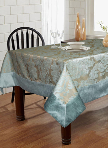 "Lushomes Blue Pattern 5 Jacquard 6 Seater Table Cloth with High Quality Polyester Border (Size: 60""x90""), single piece - Lushomes"