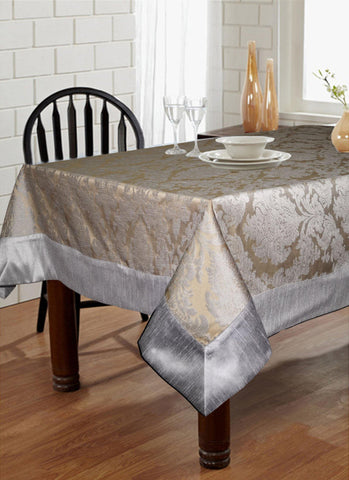 "Lushomes Warm Silver Pattern 5 Jacquard 6 Seater Table Cloth with High Quality Polyester Border (Size: 60""x90""), single piece - Lushomes"