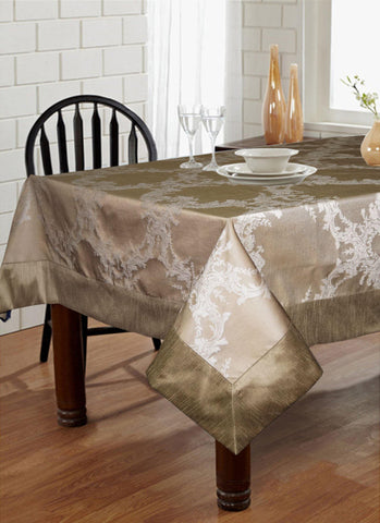 "Lushomes Silver Pattern 1 Jacquard 6 Seater Table Cloth with High Quality Polyester Border (Size: 60""x90""), single piece - Lushomes"