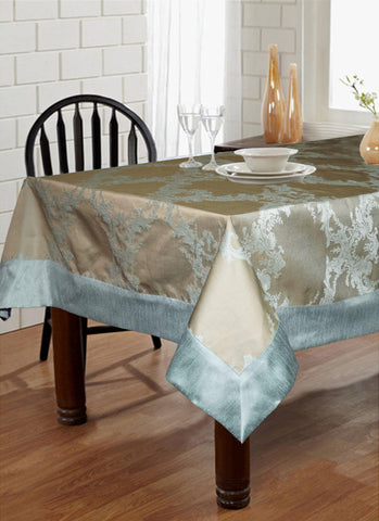 "Lushomes Blue Pattern 1 Jacquard 6 Seater Table Cloth with High Quality Polyester Border (Size: 60""x90""), single piece - Lushomes"