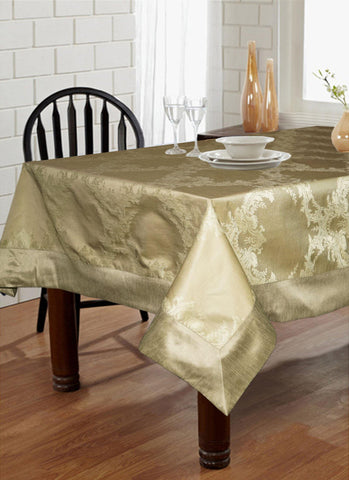 "Lushomes Natural Pattern 1 Jacquard 6 Seater Table Cloth with High Quality Polyester Border (Size: 60""x90""), single piece - Lushomes"
