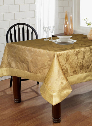"Lushomes Gold Pattern 2 Jacquard 6 Seater Table Cloth with High Quality Polyester Border (Size: 60""x90""), single piece - Lushomes"