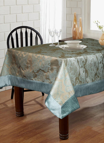"Lushomes Blue Pattern 2 Jacquard 6 Seater Table Cloth with High Quality Polyester Border (Size: 60""x90""), single piece - Lushomes"