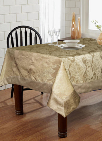 "Lushomes Natural Pattern 2 Jacquard 6 Seater Table Cloth with High Quality Polyester Border (Size: 60""x90""), single piece - Lushomes"