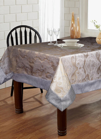 "Lushomes Warm Silver Pattern 2 Jacquard 6 Seater Table Cloth with High Quality Polyester Border (Size: 60""x90""), single piece - Lushomes"