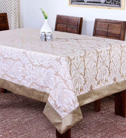 "Lushomes Silver Pattern 3 Jacquard 6 Seater Table Cloth with High Quality Polyester Border (Size: 60""x90""), single piece - Lushomes"