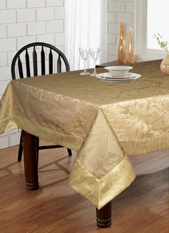 "Lushomes Gold Pattern 3 Jacquard 6 Seater Table Cloth with High Quality Polyester Border (Size: 60""x90""), single piece - Lushomes"