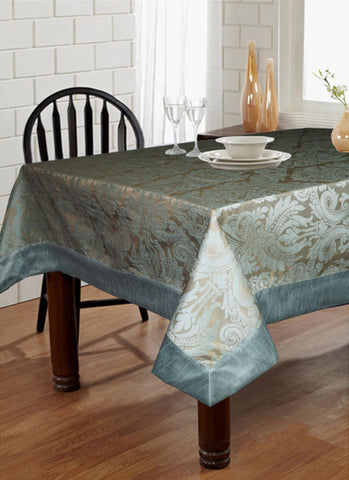 "Lushomes Blue Pattern 3 Jacquard 6 Seater Table Cloth with High Quality Polyester Border (Size: 60""x90""), single piece - Lushomes"