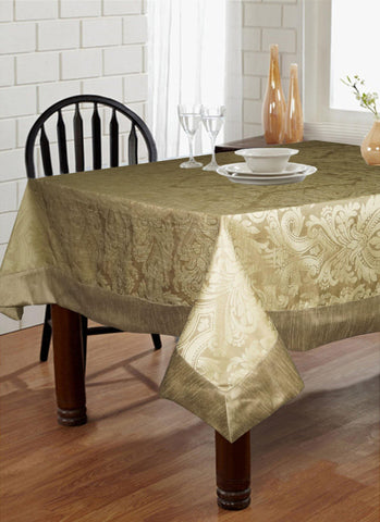 "Lushomes Natural Pattern 3 Jacquard 6 Seater Table Cloth with High Quality Polyester Border (Size: 60""x90""), single piece - Lushomes"