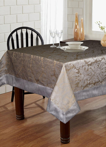 "Lushomes Warm Silver Pattern 3 Jacquard 6 Seater Table Cloth with High Quality Polyester Border (Size: 60""x90""), single piece - Lushomes"