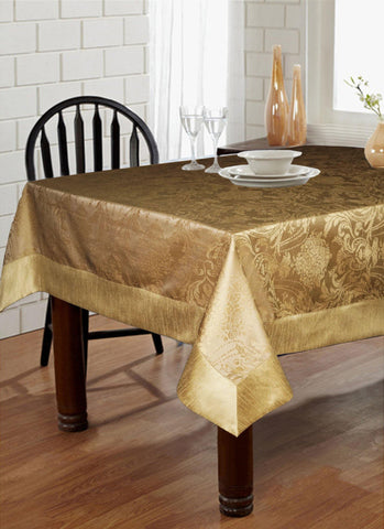 "Lushomes Gold Pattern 4 Jacquard 6 Seater Table Cloth with High Quality Polyester Border (Size: 60""x90""), single piece - Lushomes"