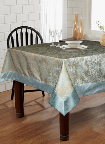 "Lushomes Blue Pattern 4 Jacquard 6 Seater Table Cloth with High Quality Polyester Border (Size: 60""x90""), single piece - Lushomes"