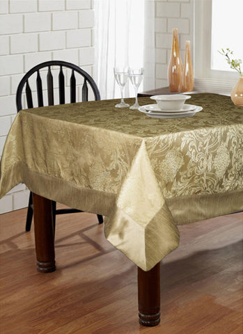 "Lushomes Natural Pattern 4 Jacquard 6 Seater Table Cloth with High Quality Polyester Border (Size: 60""x90""), single piece - Lushomes"