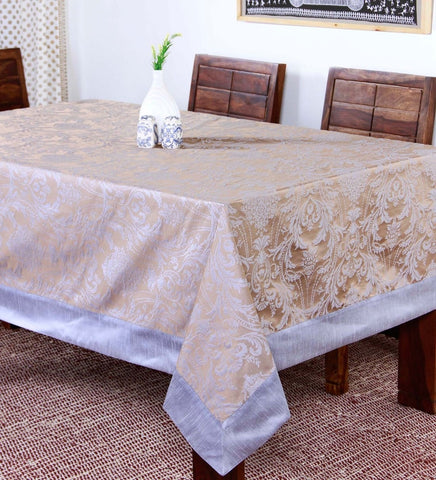 "Lushomes Warm Silver Pattern 4 Jacquard 6 Seater Table Cloth with High Quality Polyester Border (Size: 60""x90""), single piece"