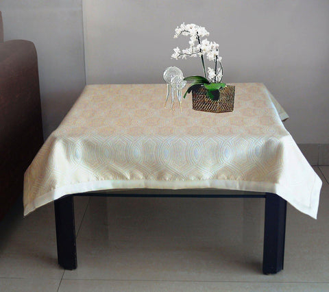 Lushomes Gold 1 Selfdesign Jaquard Centre Table Cloth (Size: 36x60 inches), single pc - Lushomes
