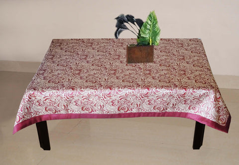 Lushomes Pink 1 Selfdesign Jaquard Centre Table Cloth (Size: 36x60 inches), single pc - Lushomes