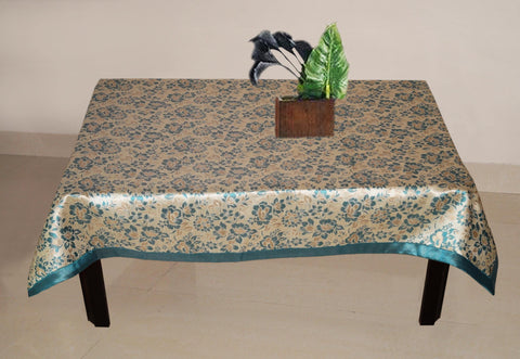 Lushomes Blue 2 Selfdesign Jaquard Centre Table Cloth (Size: 36x60 inches), single pc - Lushomes
