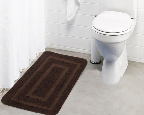 Lushomes Ultra Soft Microfiber Polyester Brown Large Bath Mat - Lushomes