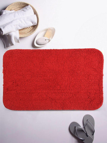 "Lushomes Maroon Thick and fluffy 1800 GSM bathmat with High Pile Microfiber (19""x 30"", Single Pc) - Lushomes"