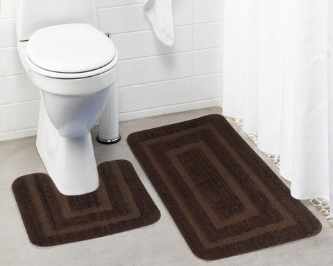 Lushomes Ultra Soft Microfiber Polyester Brown Large Bath Mat Set - Lushomes