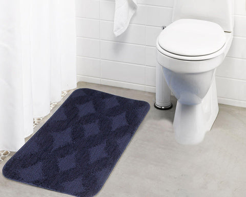 Lushomes Ultra Soft Microfiber Polyester Navy Blue Regular Bath Mat - Lushomes