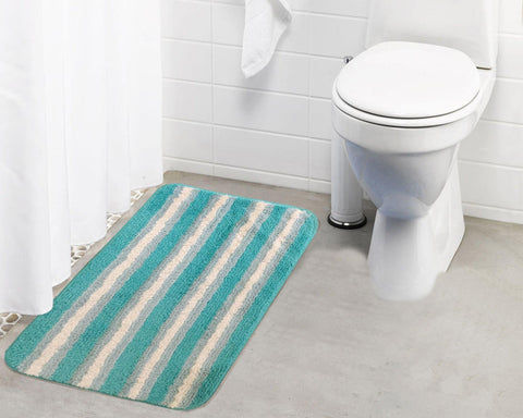 Polyester Stripped Microfibre Small Bathmat with rubber backing (Single pc) - Lushomes