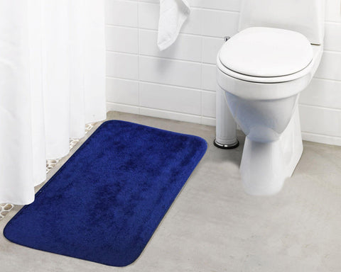Lushomes Polyester Blue Microfibre Small Bathmat with Rubber Backing (Single pc) - Lushomes