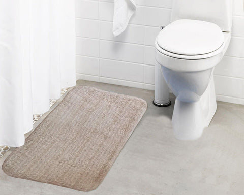 Lushomes Polyester Beige Microfibre Small Bathmat with Rubber Backing (Single pc) - Lushomes