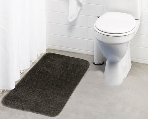 Lushomes Polyester Brown Microfibre Small Bathmat with Rubber Backing (Single pc) - Lushomes