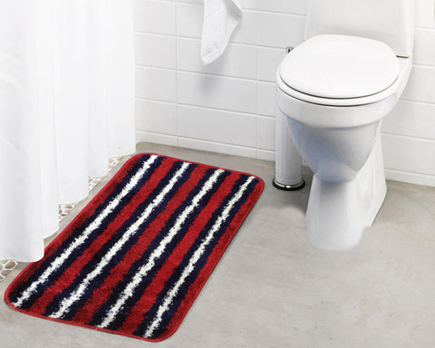 Lushomes Polyester Stripped Microfibre Small Bathmat with Rubber Backing (Single pc) - Lushomes