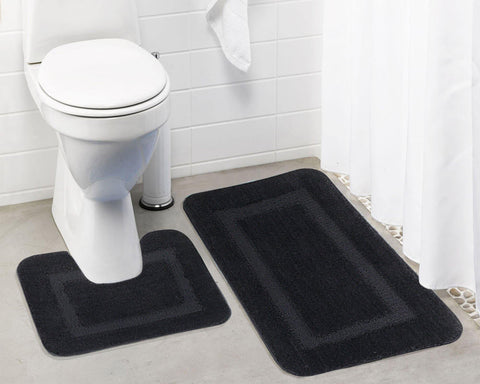 Lushomes Ultra Soft Microfiber Polyester Dark Grey Regular Bath Mat Set - Lushomes