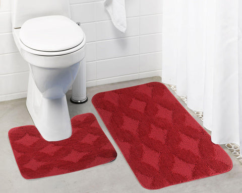 Lushomes Ultra Soft Microfiber Polyester Red Regular Bath Mat Set - Lushomes