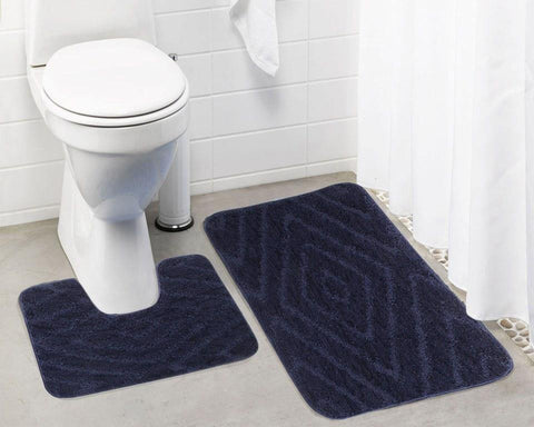 Lushomes Ultra Soft Microfiber Polyester Navy Blue Regular Bath Mat Set - Lushomes