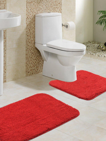 "Lushomes Maroon Thick and fluffy 1800 GSM bathmat with High Pile Microfiber (Bathmat:15""x 24"", Contour: 15""x 16"" ) - Lushomes"